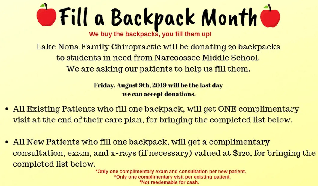 JULY SPECIAL - FILL A BACKPACK MONTH